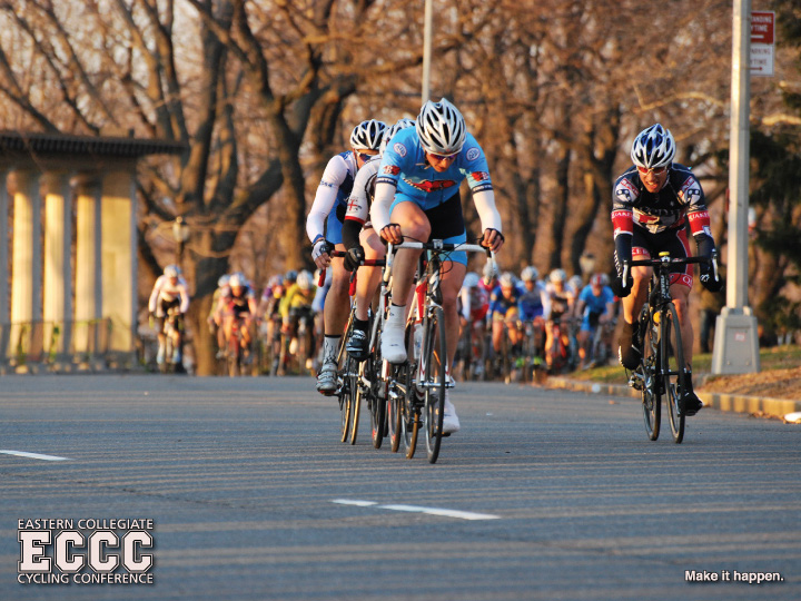 Jeff Salvitti (Bucknell), Matt Furlow (UPenn), Rob Burnett (F&M), and another rider make a go for it at the 2011 Columbia Grant's Tomb Crit; photo by Chatura Atapattu.